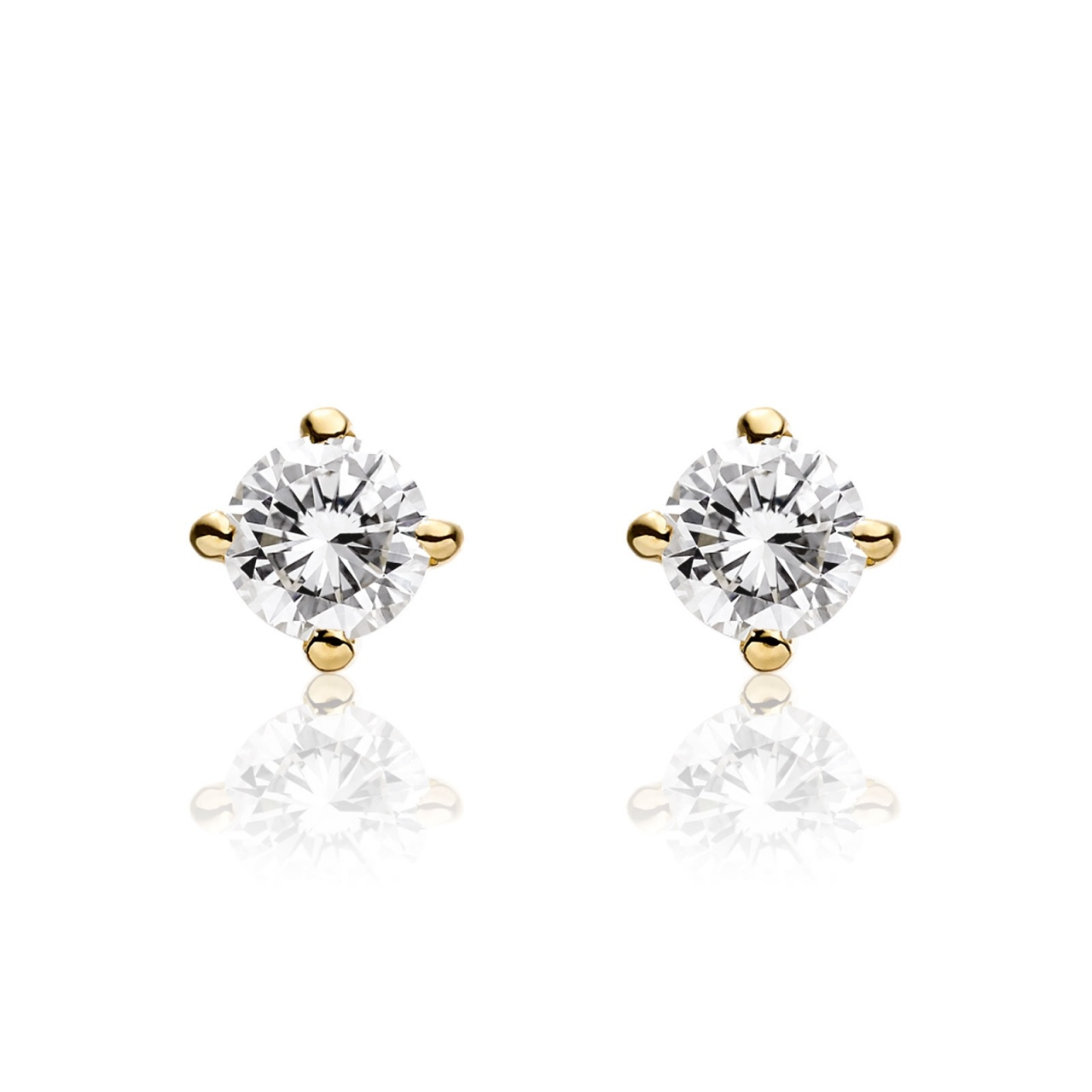 Diamond Stud Earrings in Yellow Gold-EADIYG0455-1