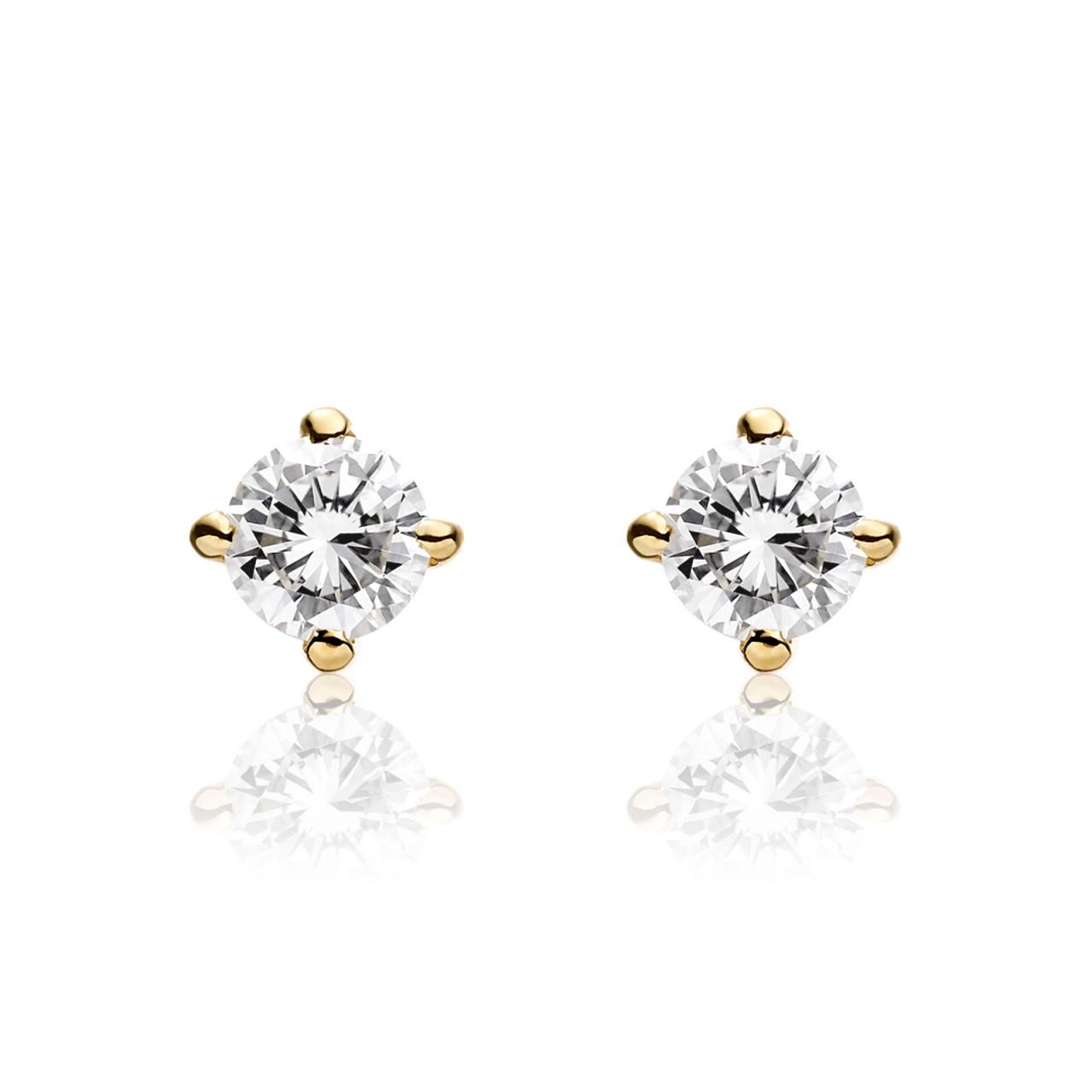 Diamond Studs in Yellow Gold with Akoya Pearls-AEWRYG0477-1