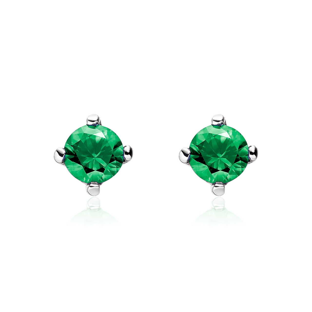 Emerald Stud Earrings in 18 Carat White Gold-1