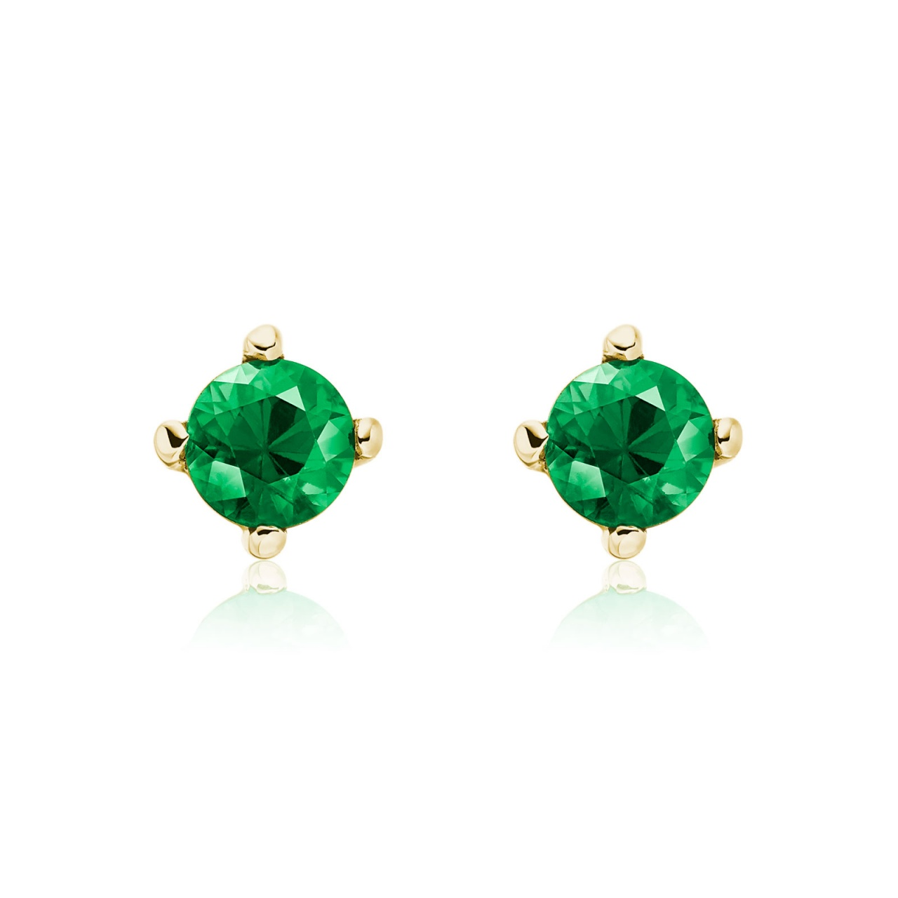 Emerald Stud Earrings in 18 Carat Yellow Gold-1