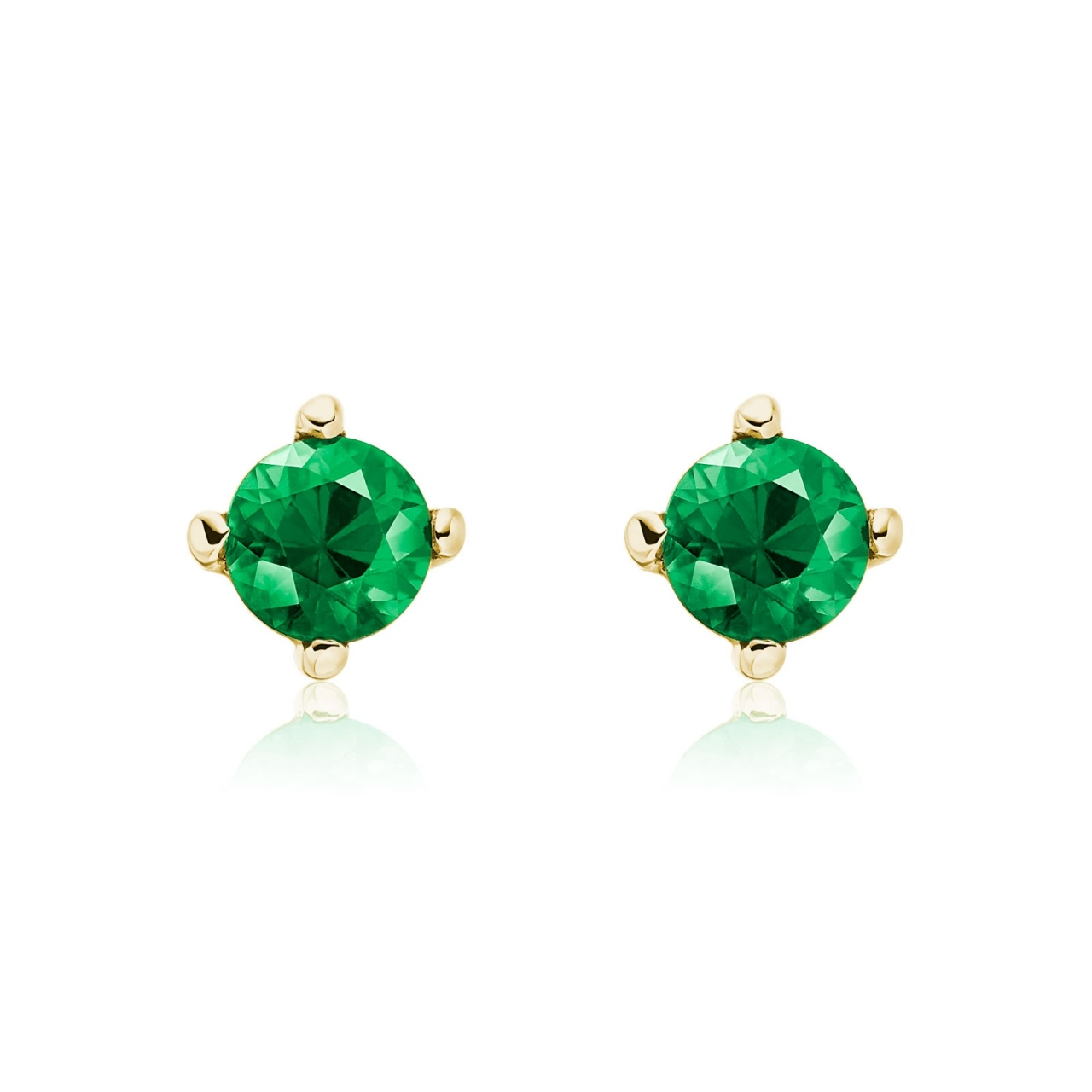 Emerald Studs in Yellow Gold with Akoya Pearls-AEWREM1312-1