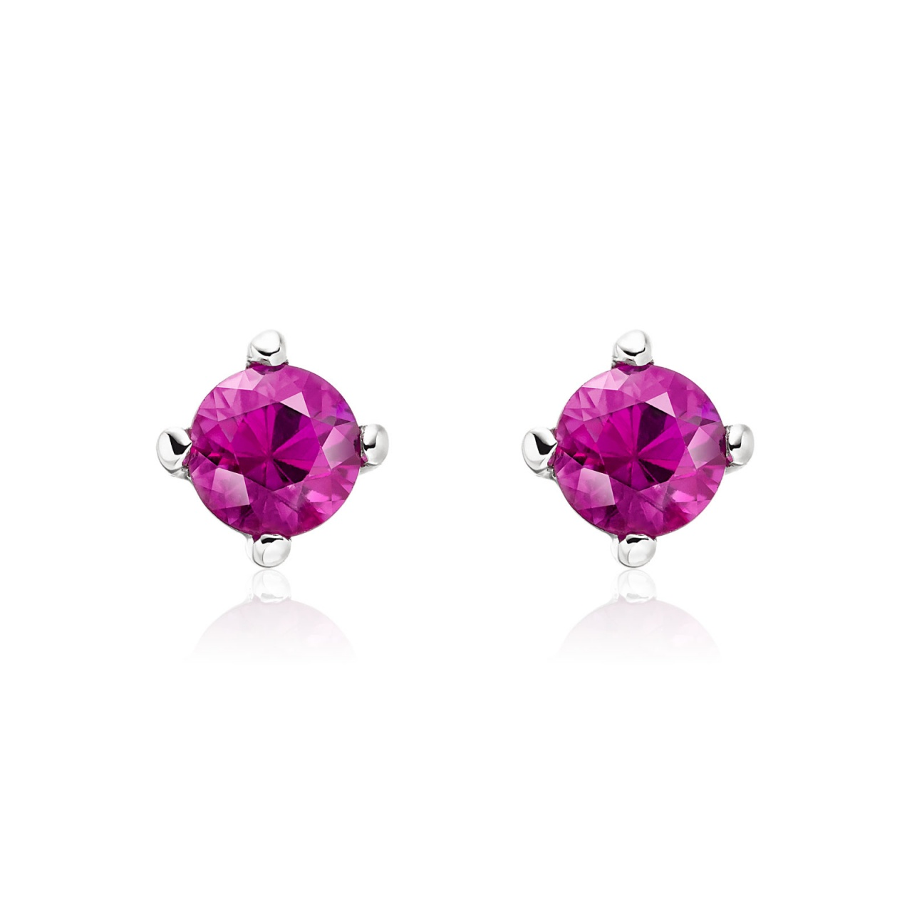 Pink Ruby Stud Earrings in White Gold with Akoya Pearls