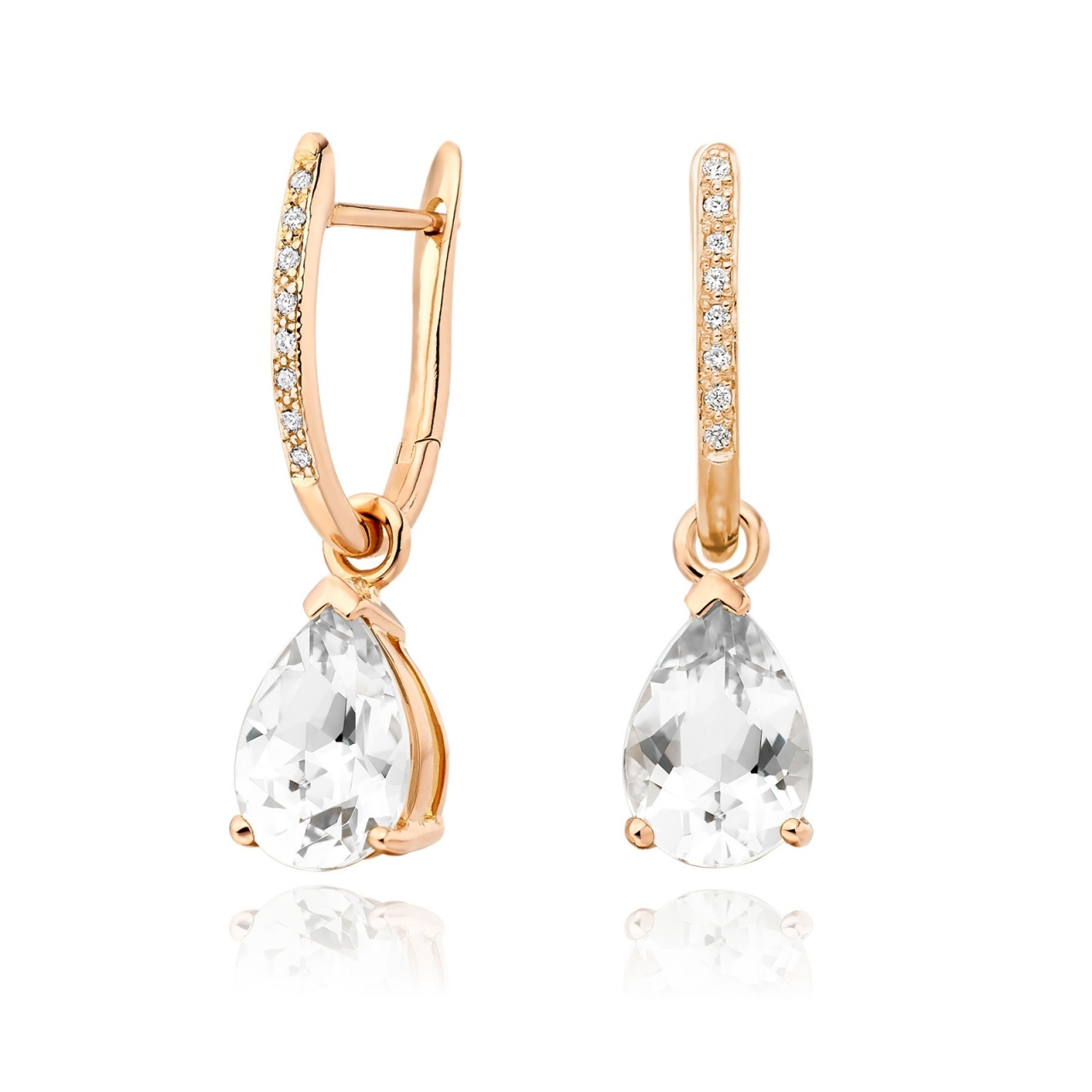 Rose Gold Diamond Leverbacks with Mythologie White Topaz Drops-EAWTRG1278-1
