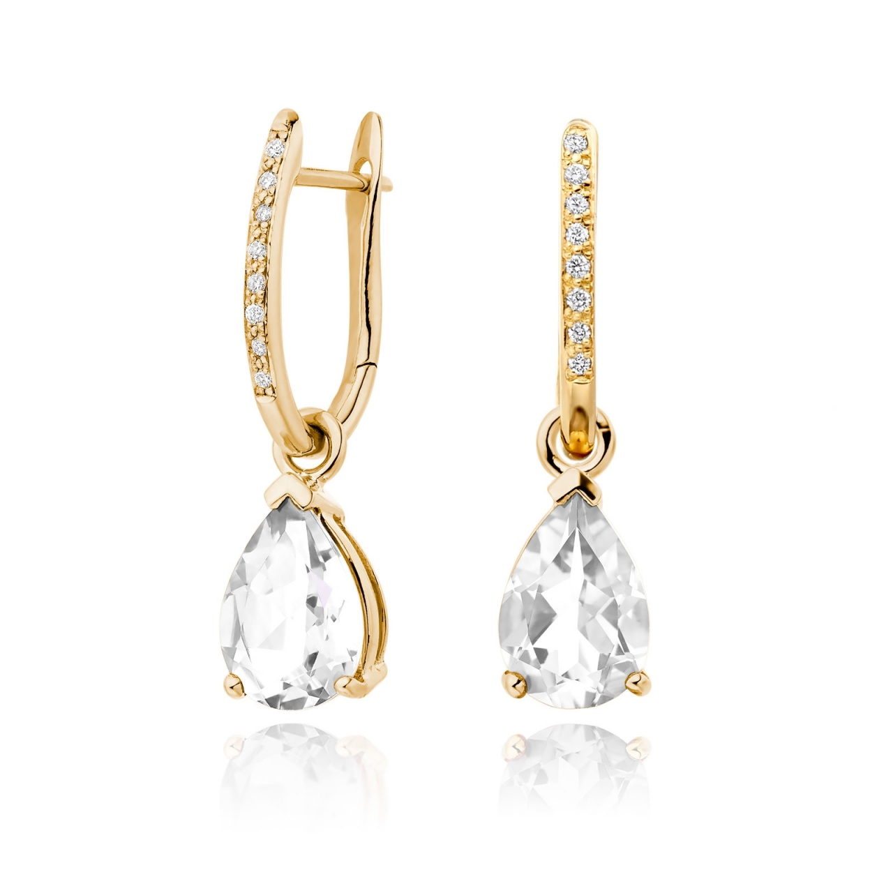 Yellow Gold Diamond Leverbacks with Mythologie White Topaz Drops-EAWTYG1277-1