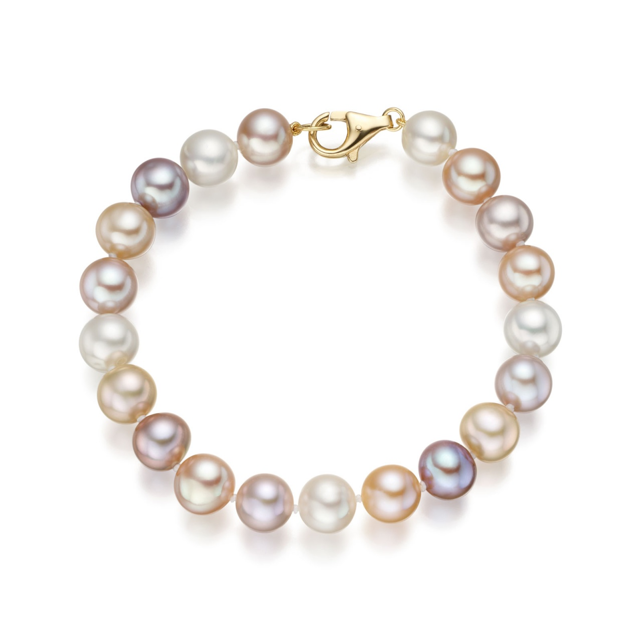Large Multi-coloured Freshwater Pearl Bracelet with 18ct Gold-1