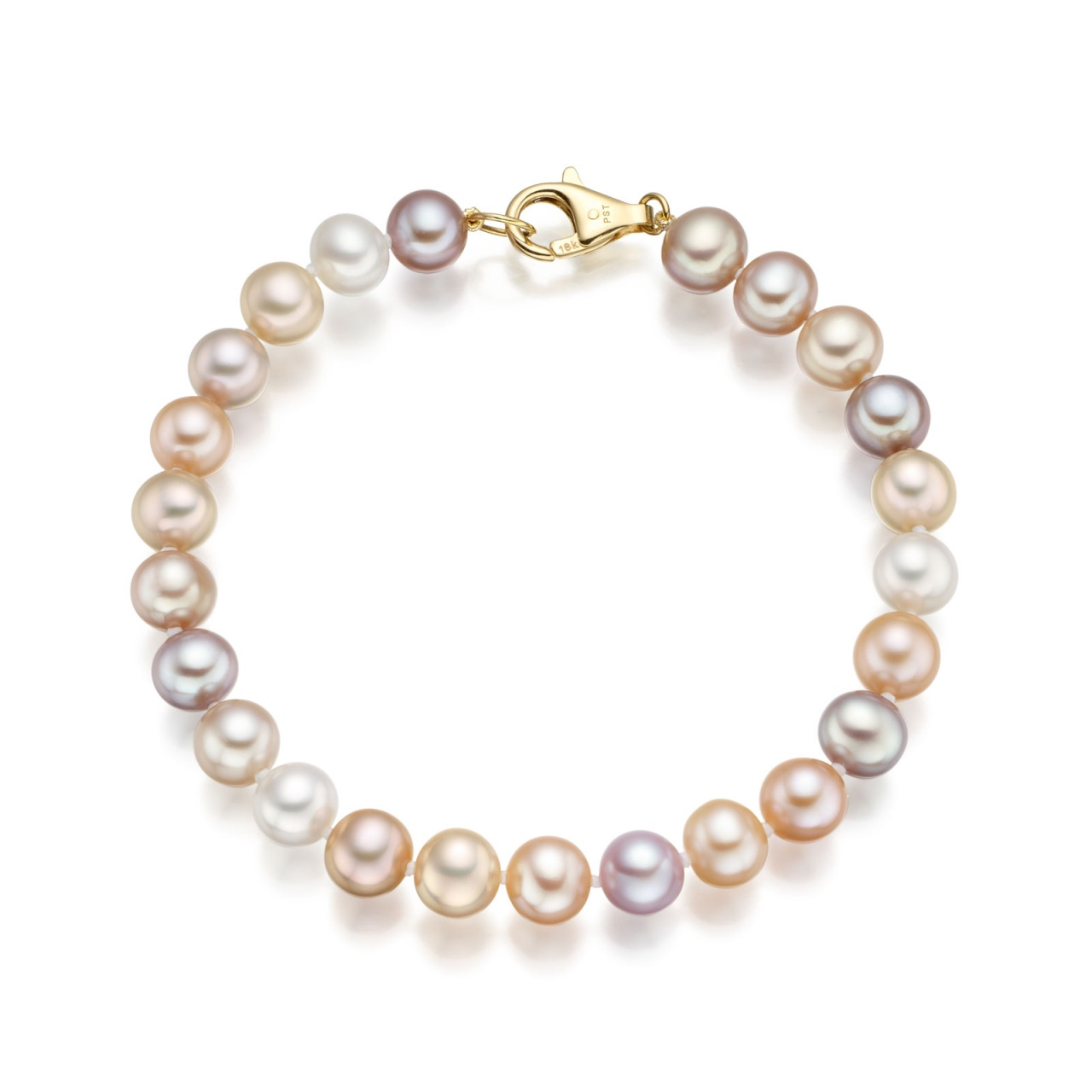 Classic Multi-coloured Freshwater Pearl Bracelet In Yellow Gold