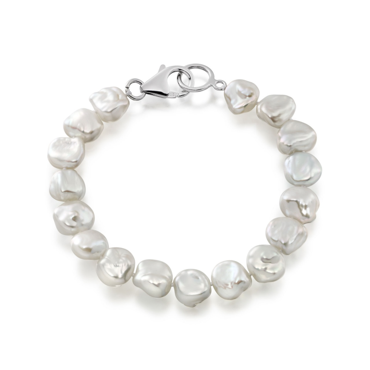White Keshi Freshwater Pearl Bracelet with Sterling Silver-1