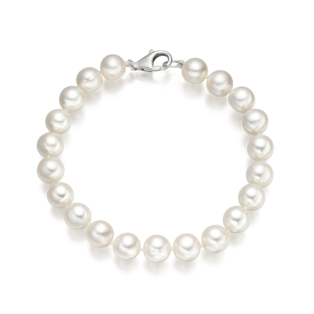 The Classic White Freshwater Pearl Bracelet with 18ct Gold Clasp-1