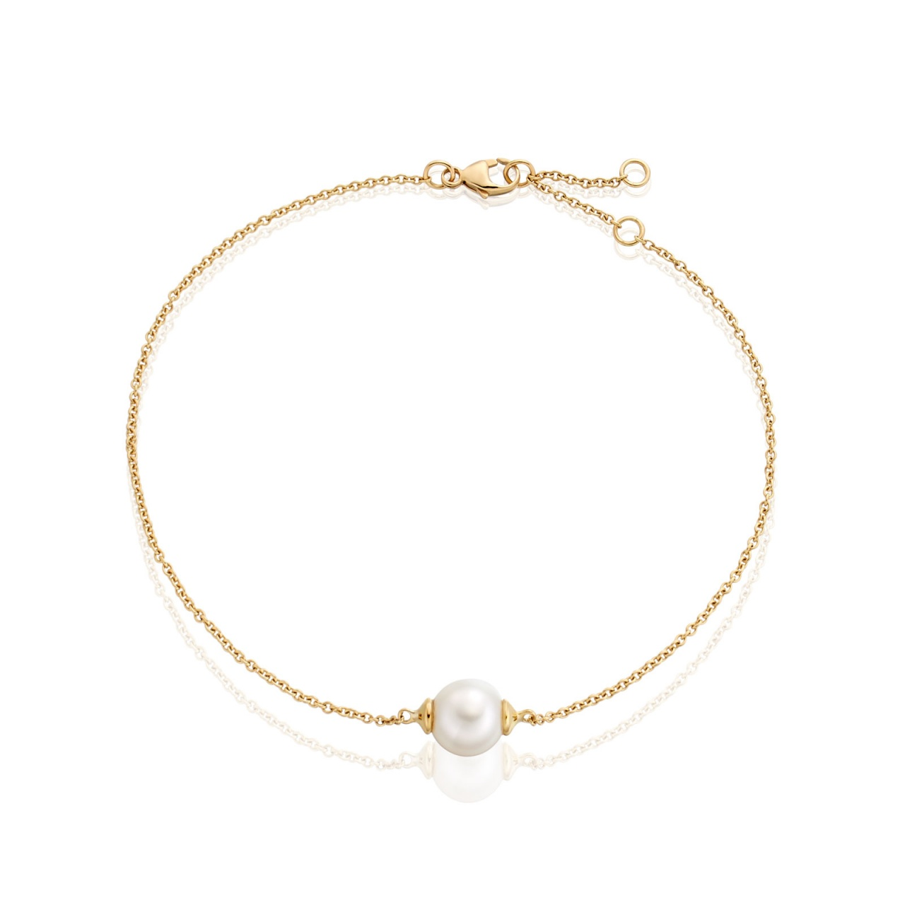 Classic Single Freshwater Pearl Bracelet with Yellow Gold Chain-1