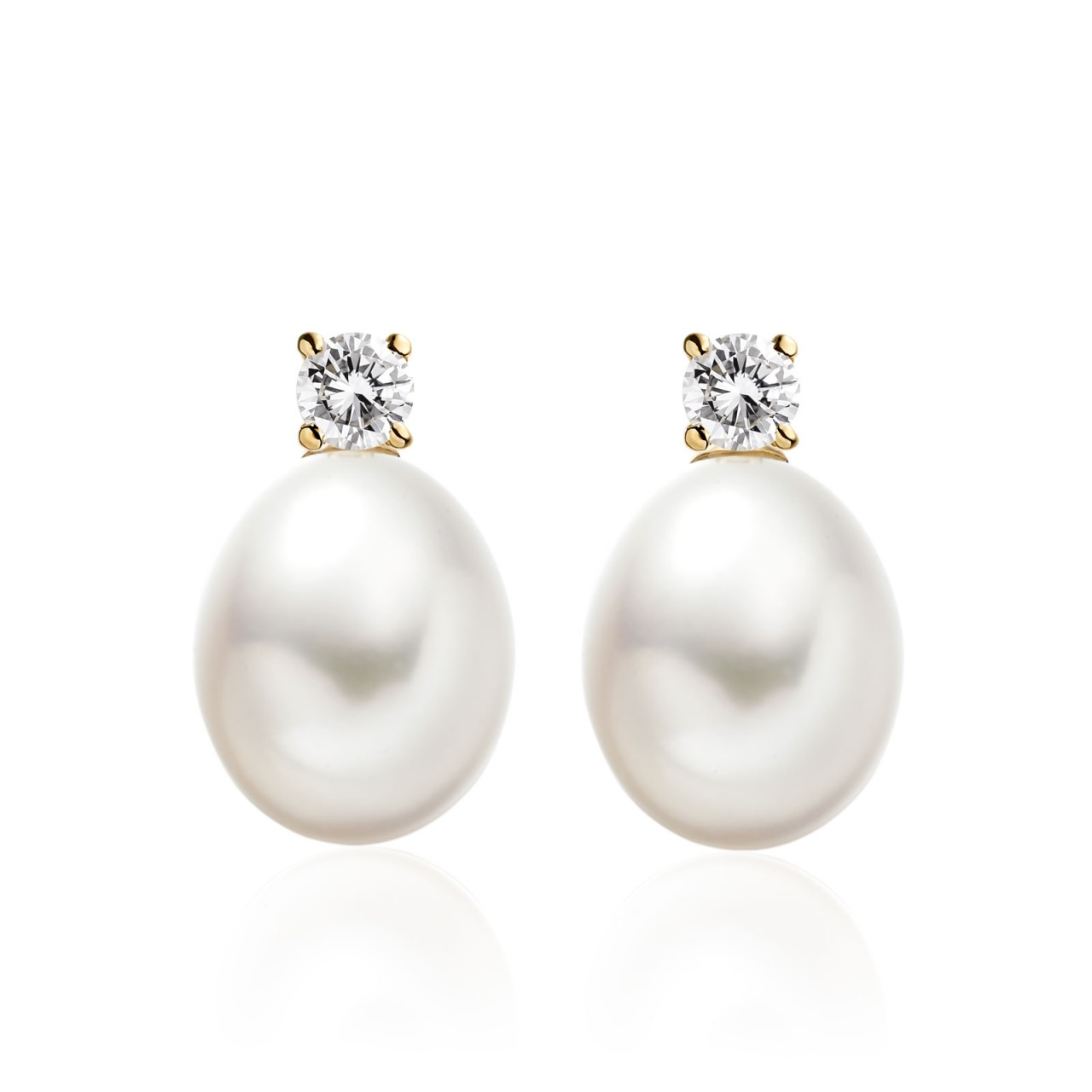 Diamond Studs in Yellow Gold with White Freshwater Pearls-FEWDYG0491-1