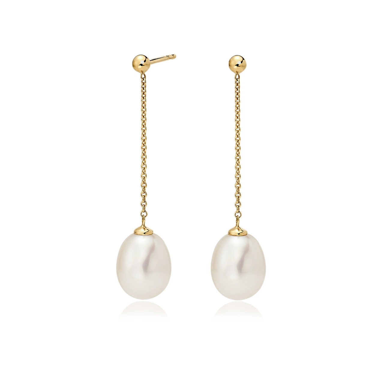 Freshwater Pearl Constellation Earrings in Yellow Gold-FEWDYG1224-1