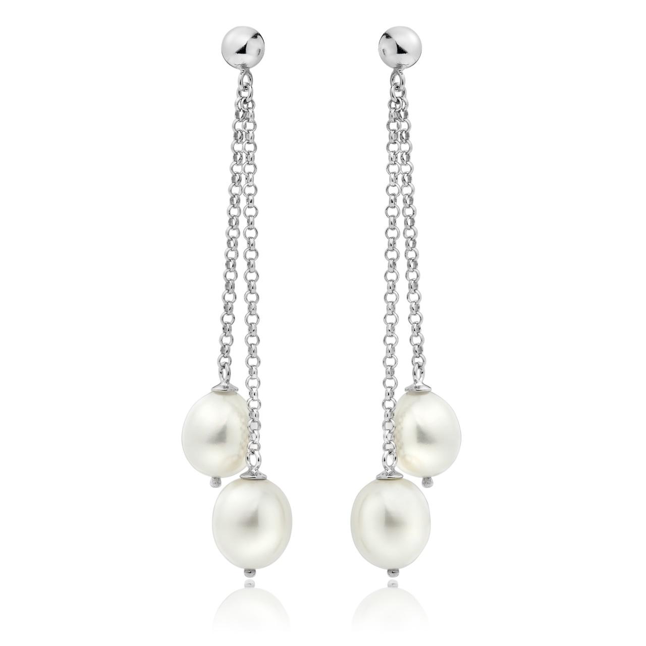 White Freshwater Pearl Waterfall Earrings in Silver