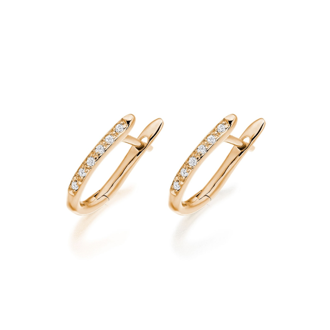 Rose Gold Diamond Huggie Leverback Earrings-FILERG1212-1