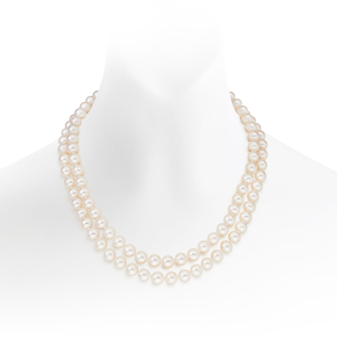 Classic Double Row White Freshwater Pearl Necklace-1