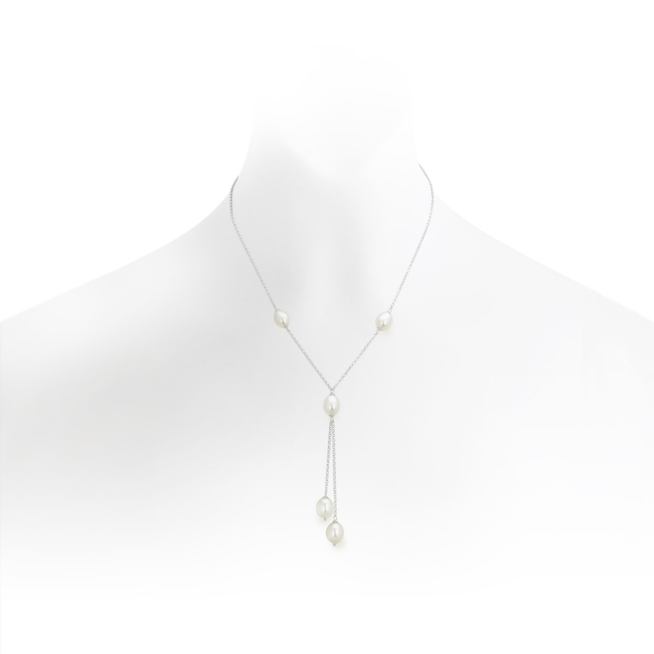 White Drop Pearl Lariat Necklace with Silver Chain-FNWOSS0296-1