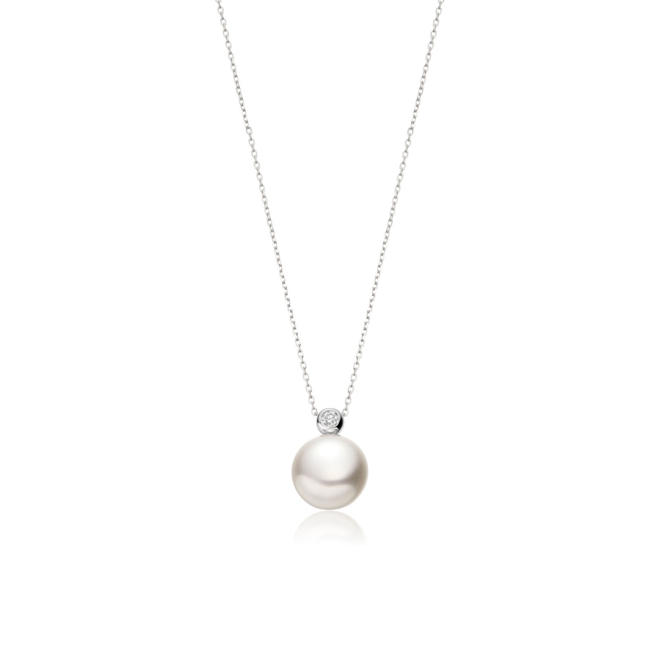 White Button Freshwater Pearl and Diamond Pendant with 18ct Gold-White Button Freshwater Pearl and Diamond Pendant with 18ct Gold-FPWBWG0103-1