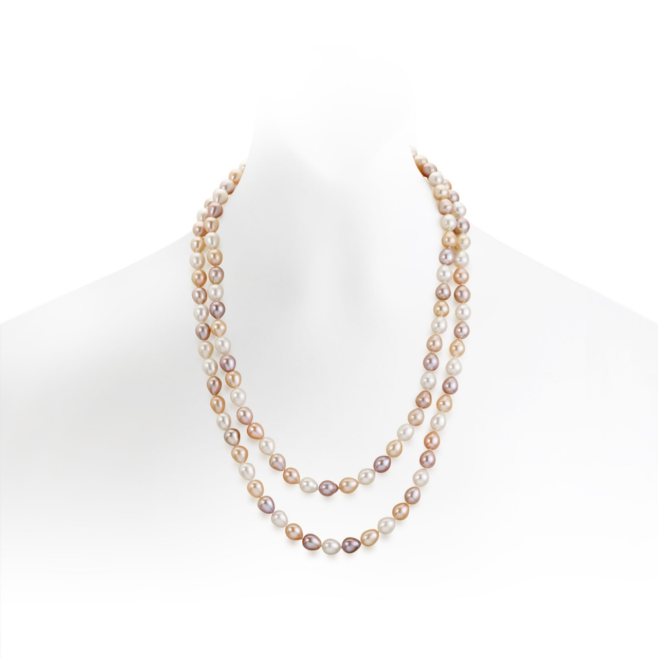 Long Multi-coloured Oval Freshwater Pearl Necklace with Silver-FSMOSS0078-1