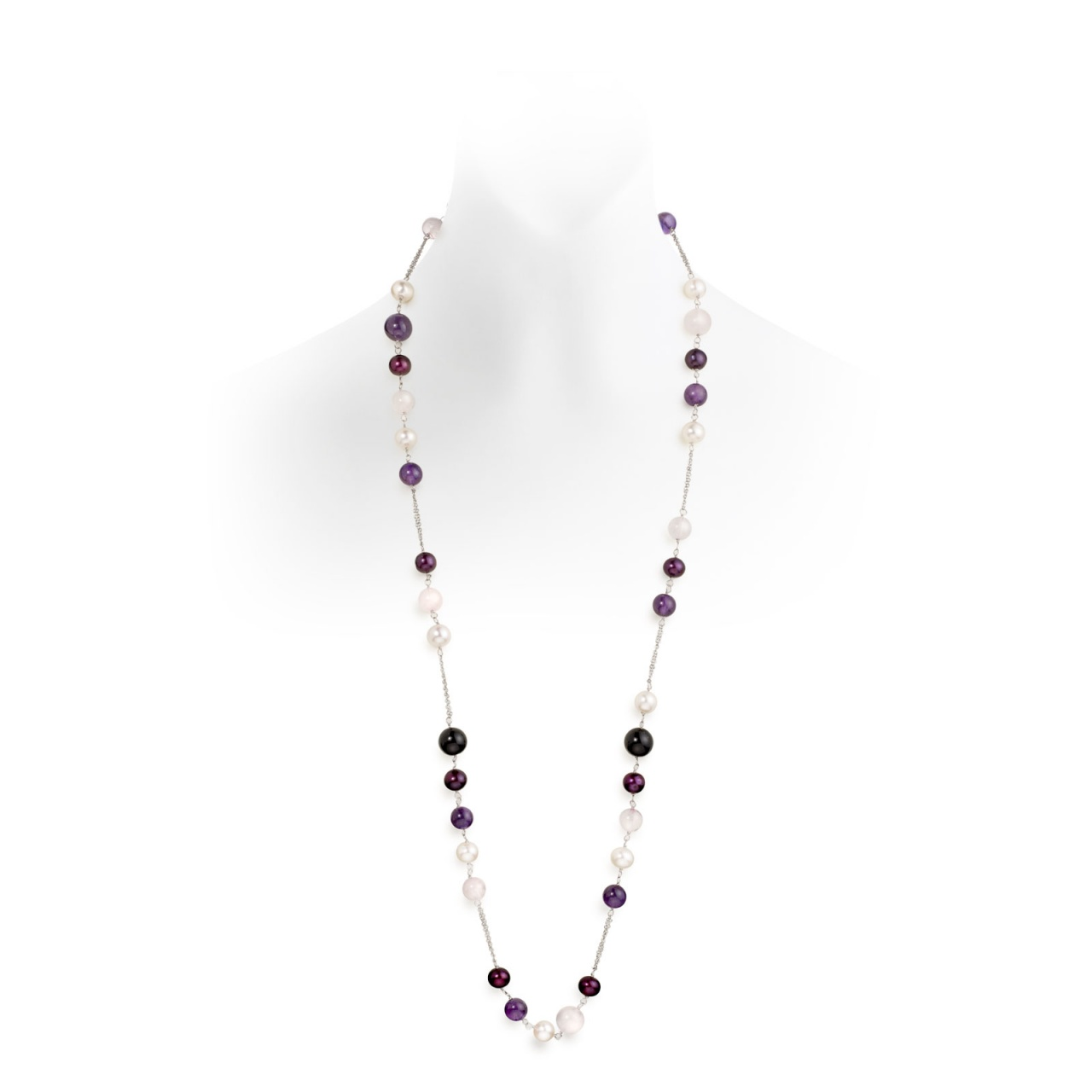 Freshwater Pearl, Rose Agate and Amethyst Chain Necklace-1