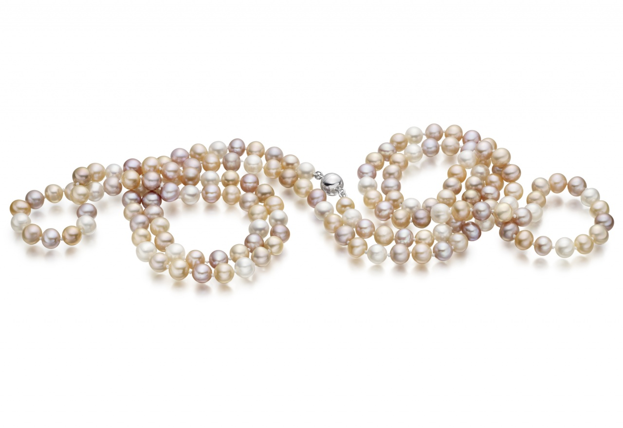Long Multi-coloured Freshwater Pearl Rope Necklace-FSMSSS0076-1