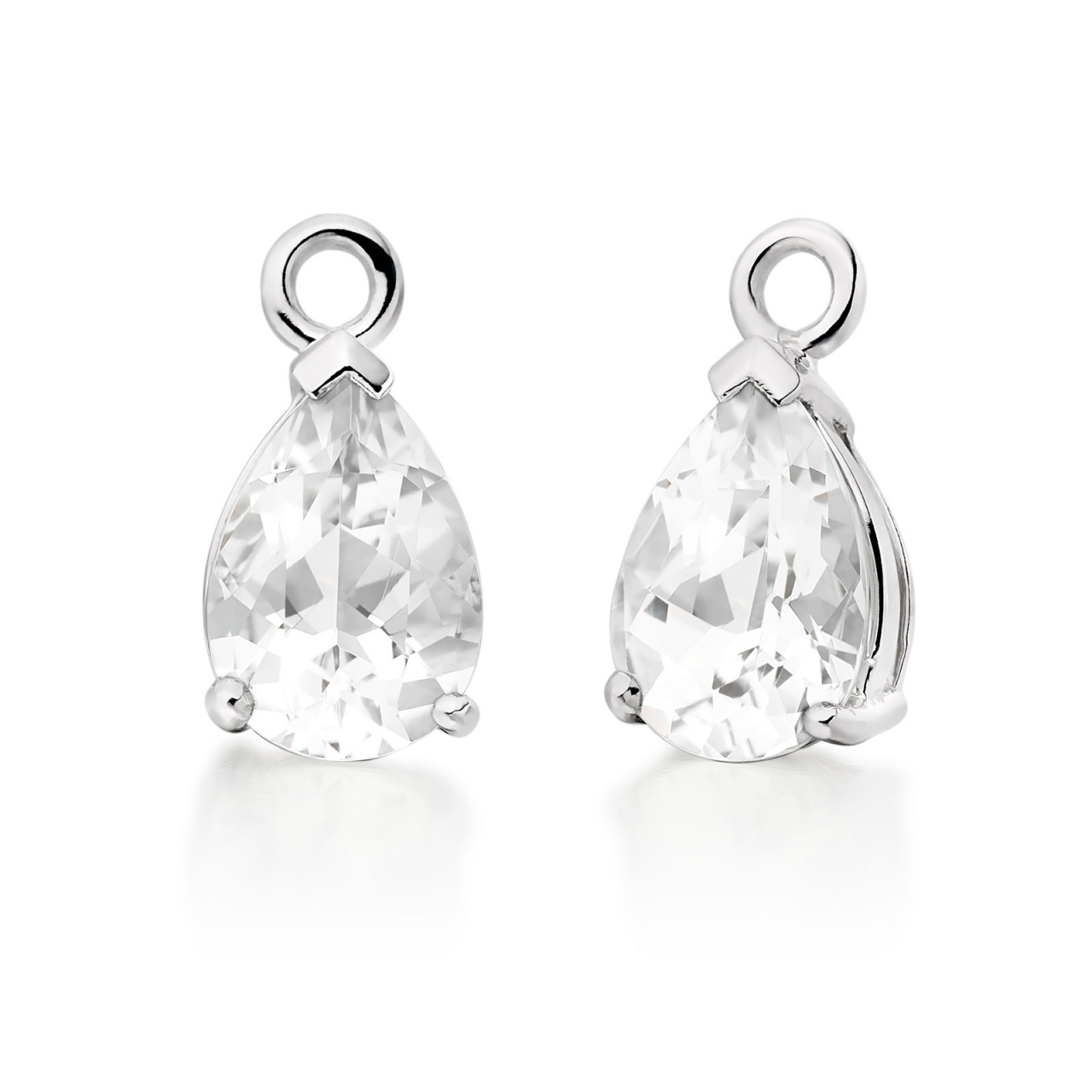 White Gold Diamond Leverbacks with Mythologie White Topaz Drops-EAWTWG1276-1