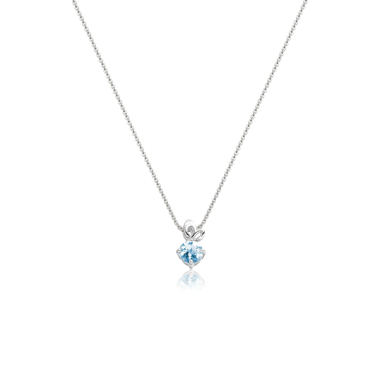 Lief Aquamarine Pendant in White Gold-PEVARWG1179-1