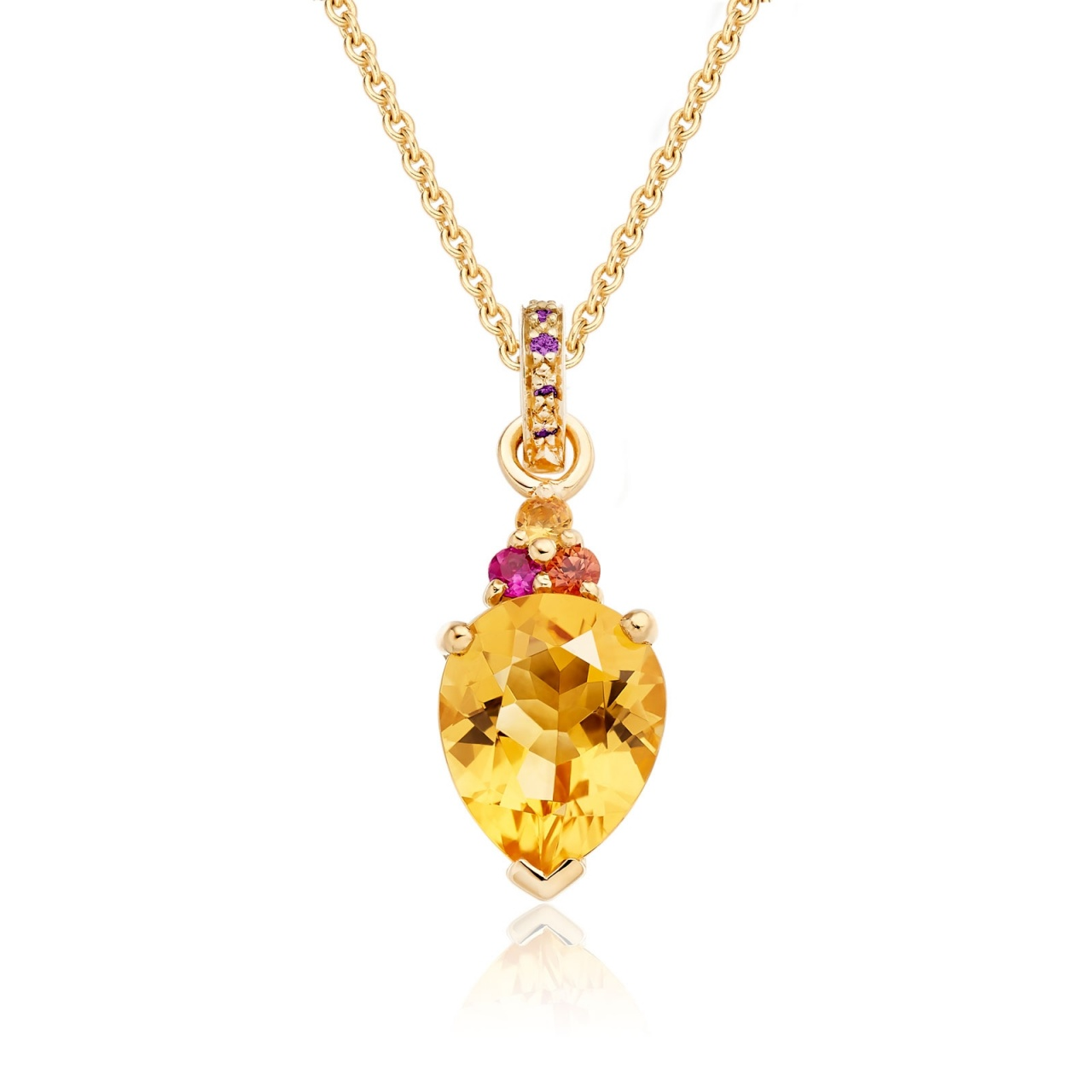 Astral Blaze Pear Drop Pendant in Yellow Gold-PEVARYG1124-1