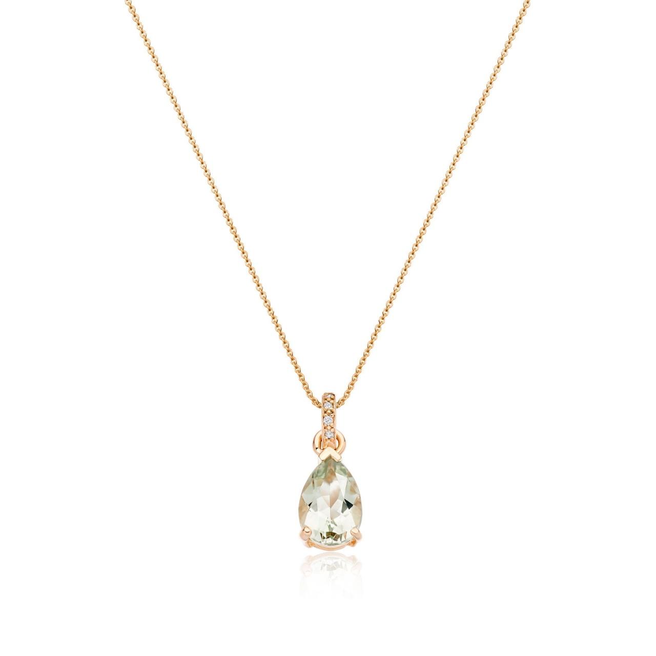 Mythologie Green Amethyst and Diamond Pendant in Rose Gold-PEVARRG1066-1