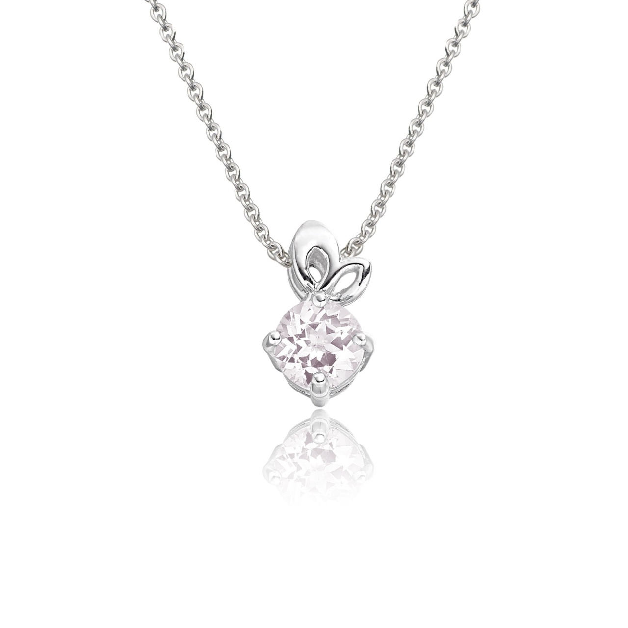 Lief Morganite Pendant in White Gold-PEVARWG1174-1