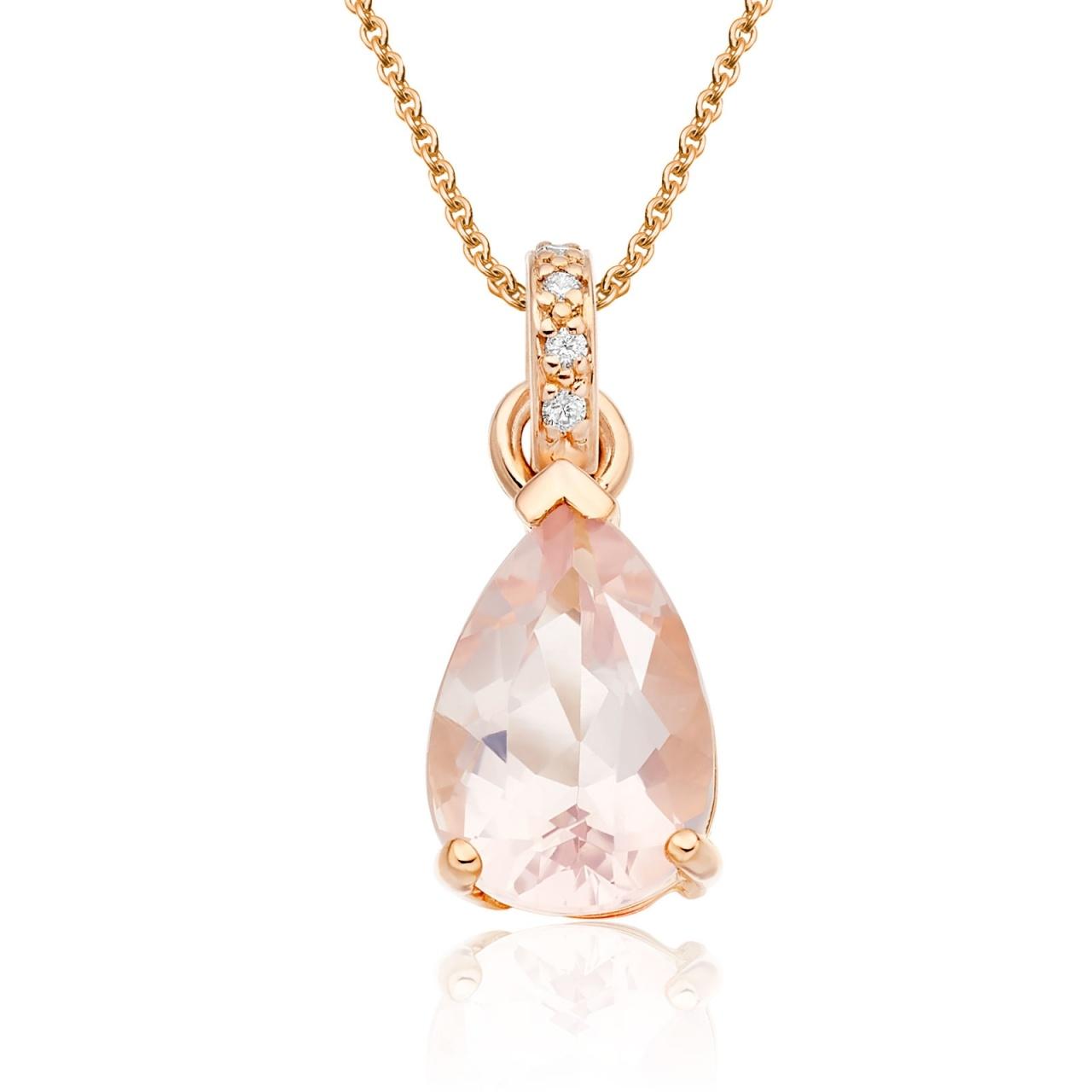 Classic Rose Quartz Pear Drop and Diamond Pendant in Rose Gold-PEVARRG1067-1