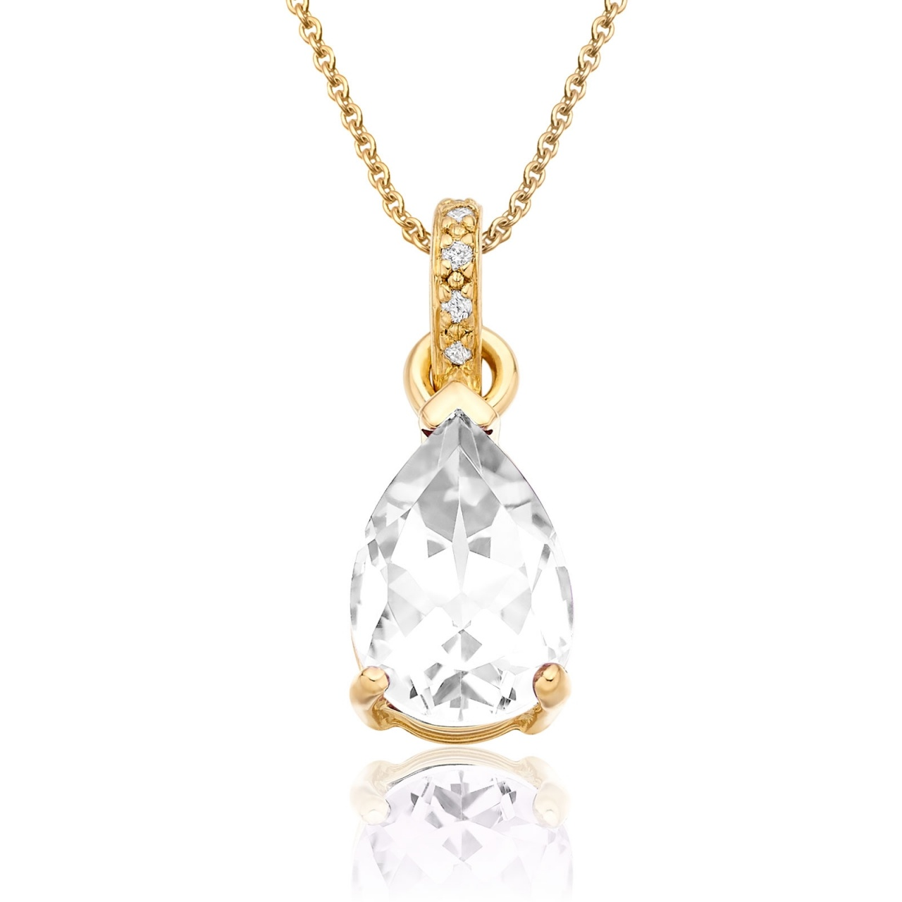 Mythologie White Topaz and Diamond Pendant in Yellow Gold-PEVARYG1266-1