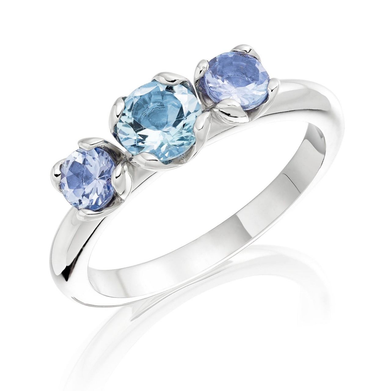 Lief Aquamarine and Tanzanite Ring in White Gold