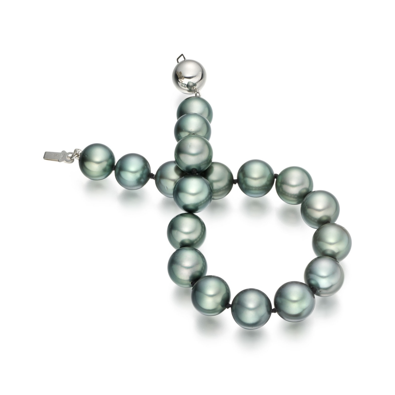 Tahitian Grey Pearl Bracelet with 18ct White Gold Ball Clasp-1