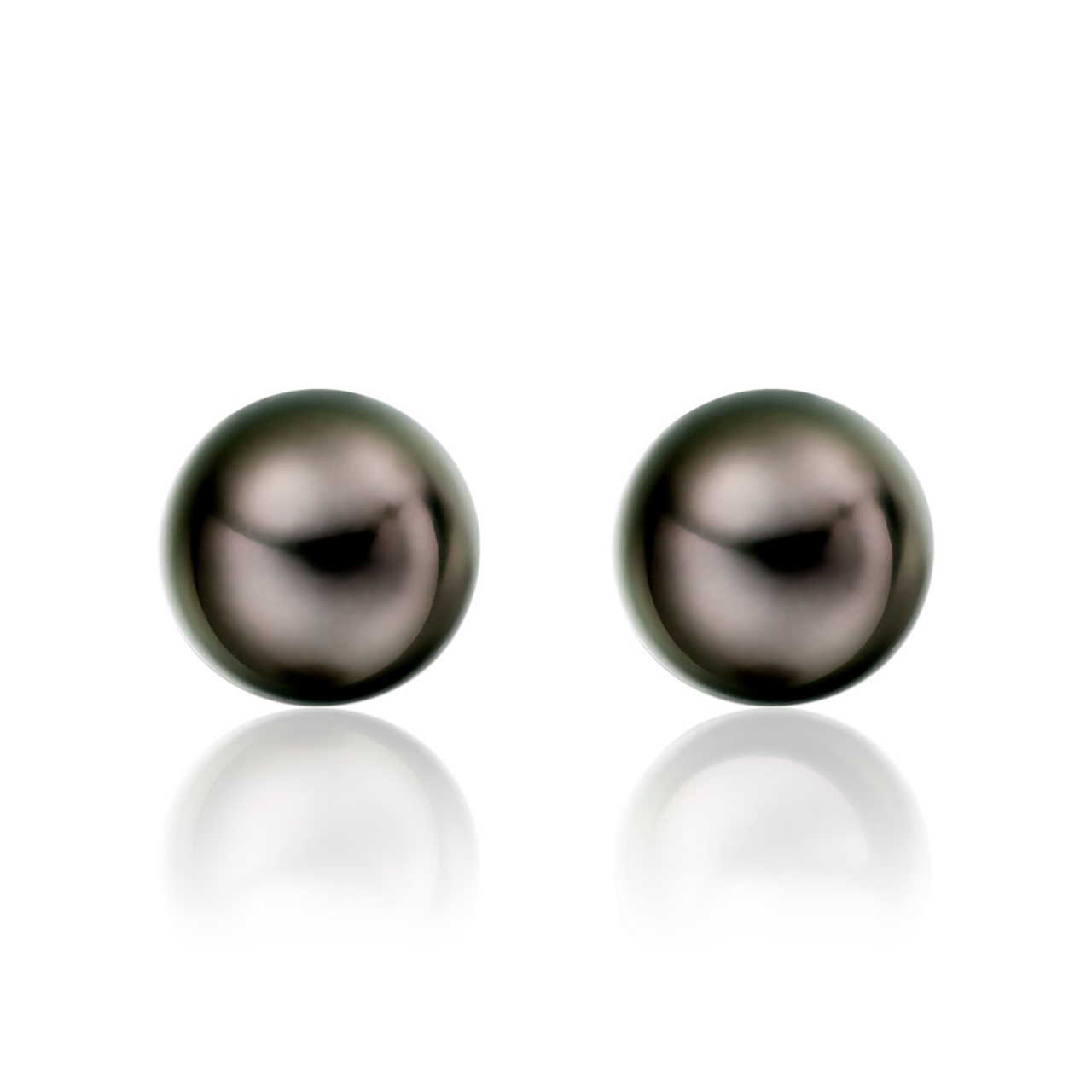 Tahitian Black Pearl Stud Earrings in 18 Carat Yellow Gold-1