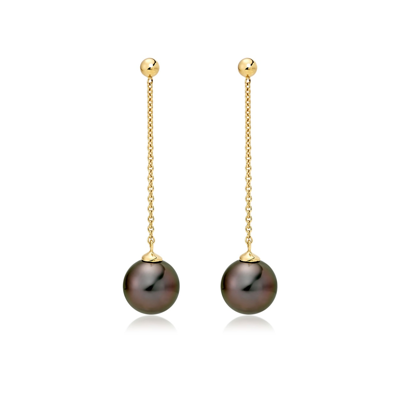 Tahitian Pearl Constellation Earrings in Yellow Gold-TEBRYG1226-1