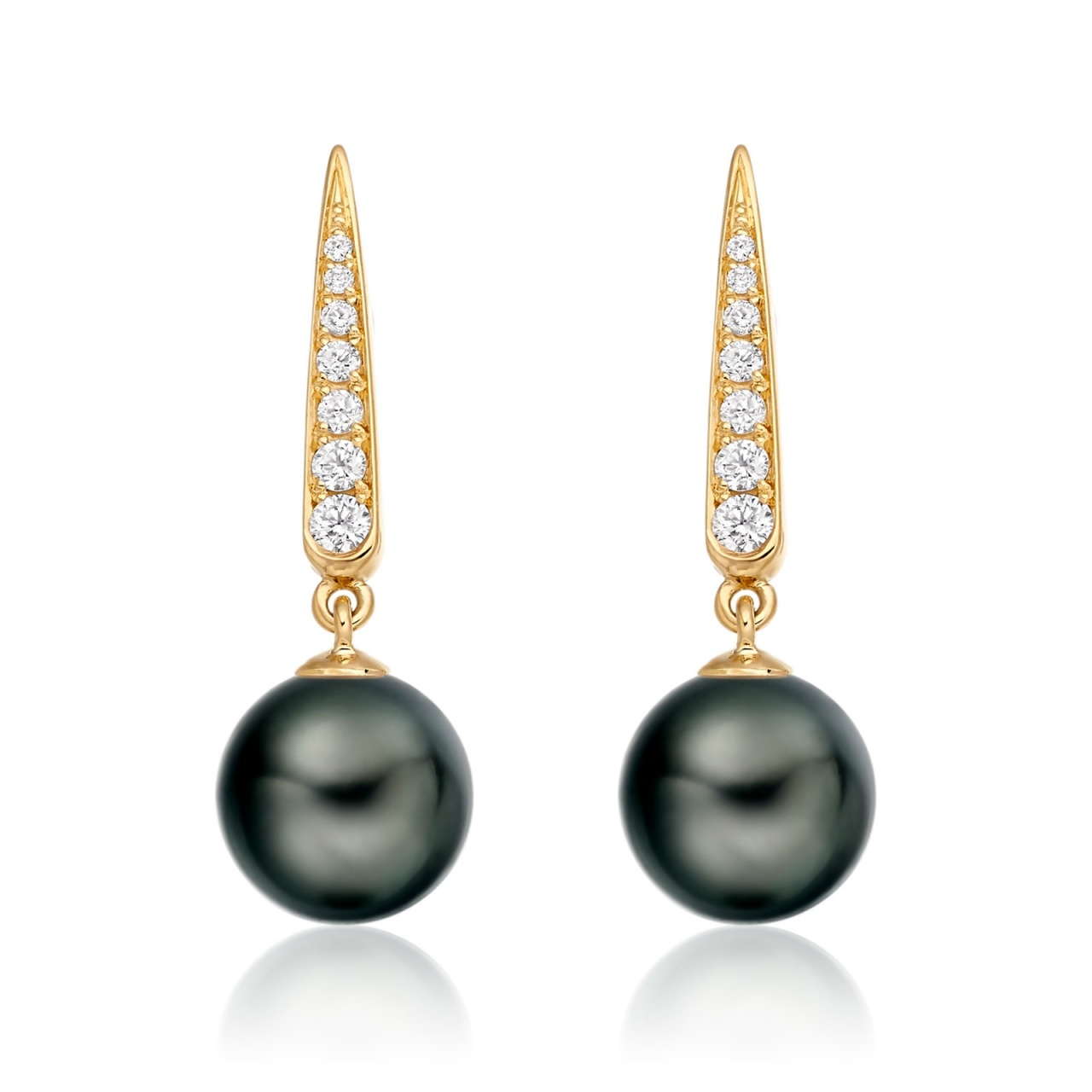 Mythologie Dark Dewdrop Tahitian Pearl Earrings in Yellow Gold-TEBRYG1280-1