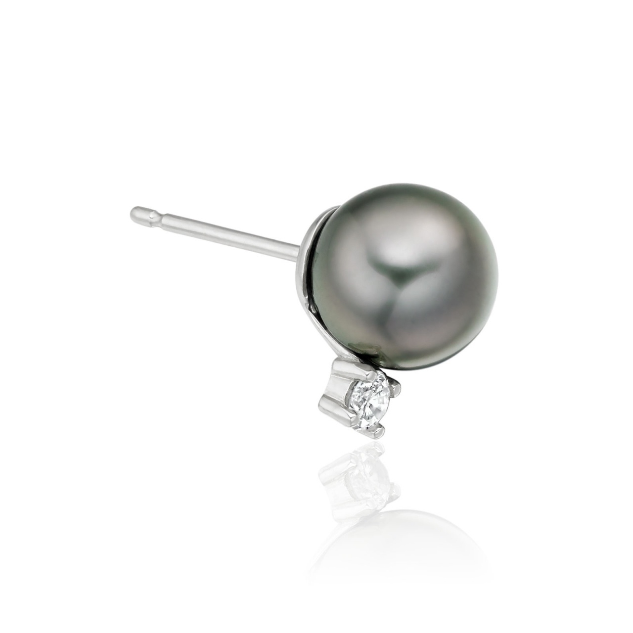 Tahitian Pearl and Diamond Stud Earrings in 18ct White Gold - TEGRWG0619-1