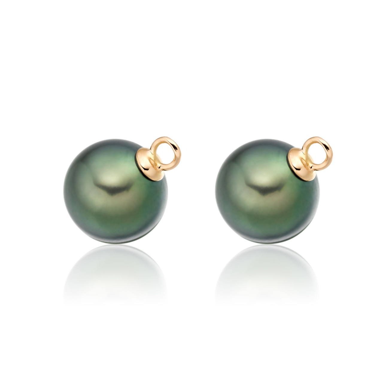 Pair of Peacock Tahitian Pearls for Rose Gold Leverback Earrings - TELPRG0628-1