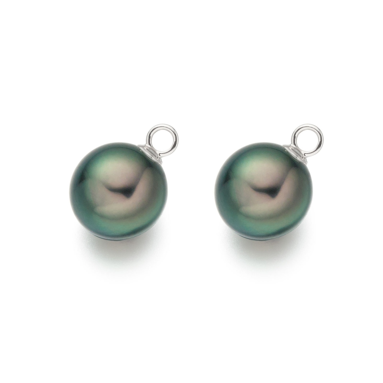 White Gold Diamond Leverbacks with Peacock Tahitian Pearls-TEPRWG0276-1