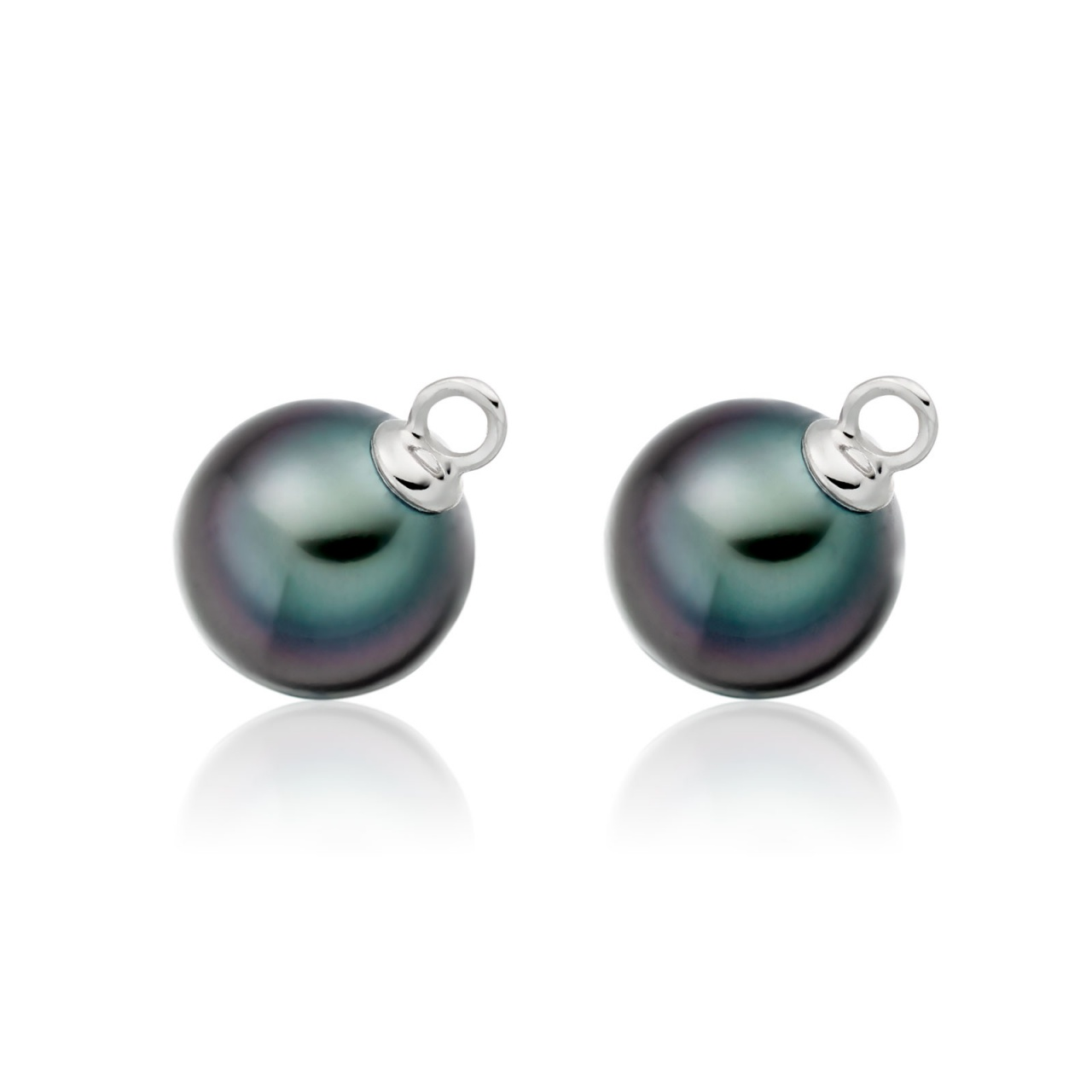 Pair of Black Tahitian Pearls for White Gold Leverback Earrings-1