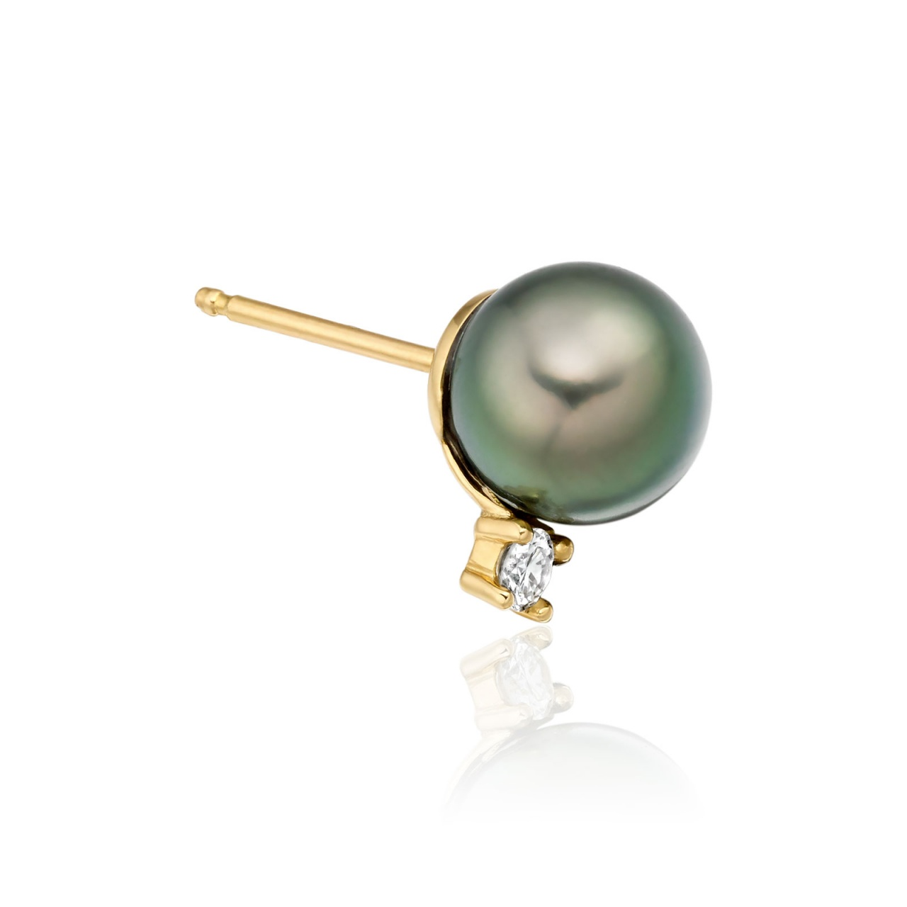 Tahitian Pearl and Diamond Stud Earrings in 18ct Yellow Gold - TEPRYG0620-1