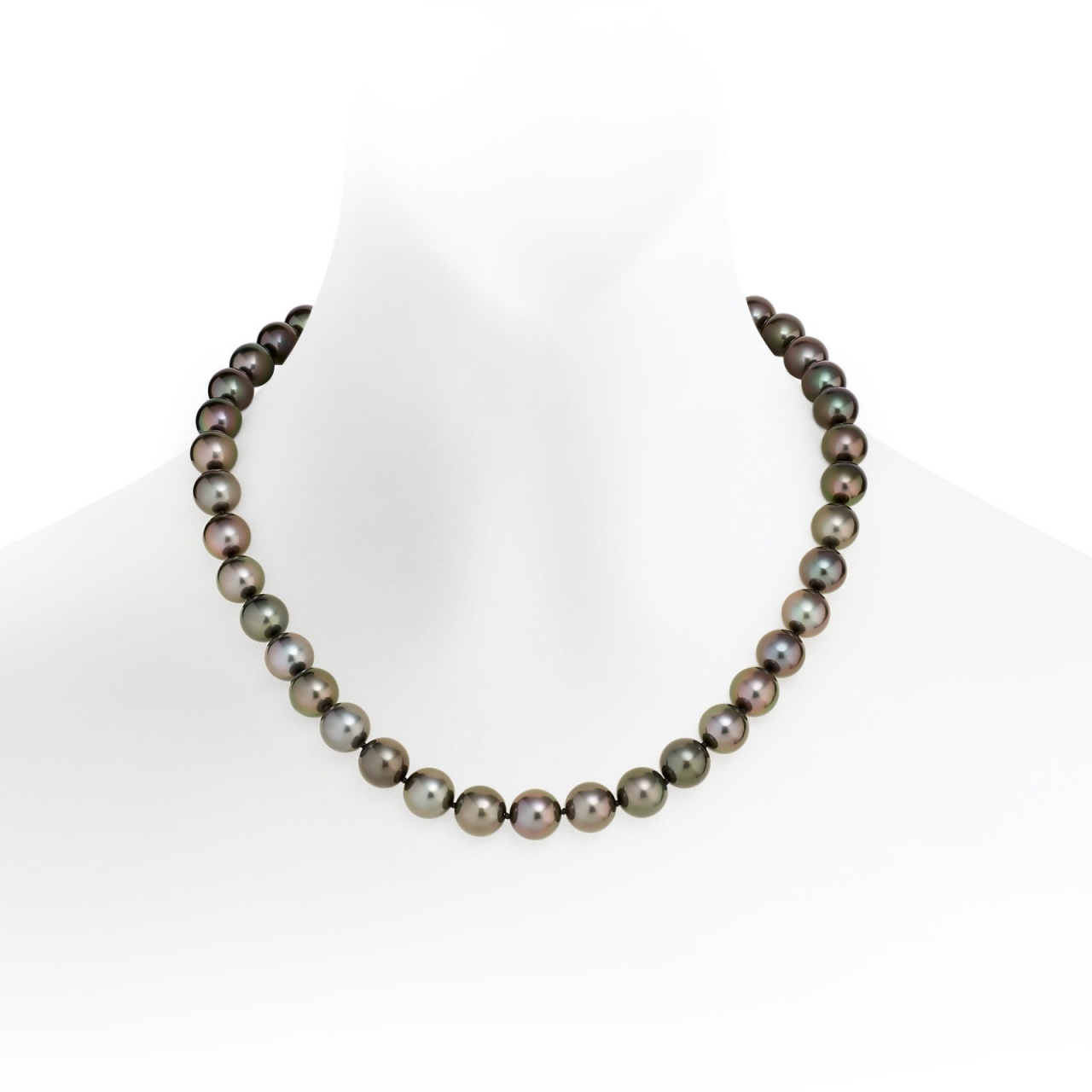 Black Tahitian Pearl Necklace with White Gold-TNBRWG1019-1