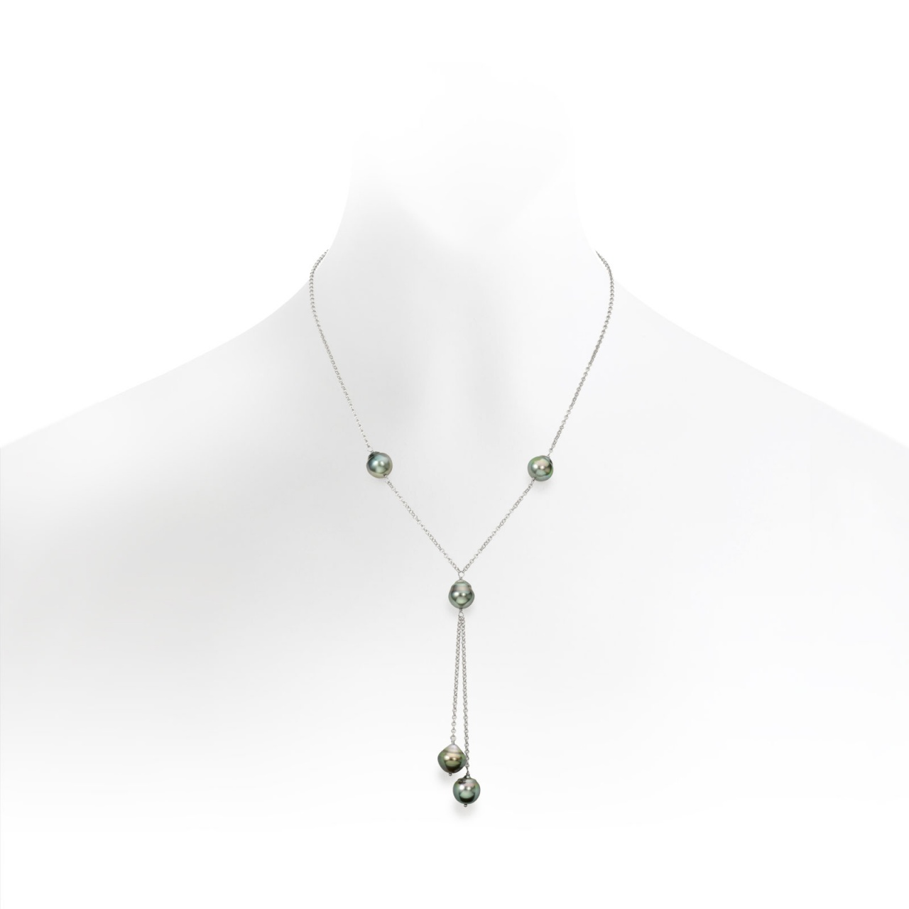 Baroque Tahitian Pearl Lariat Necklace with Silver Chain-TNGBSS0113-1