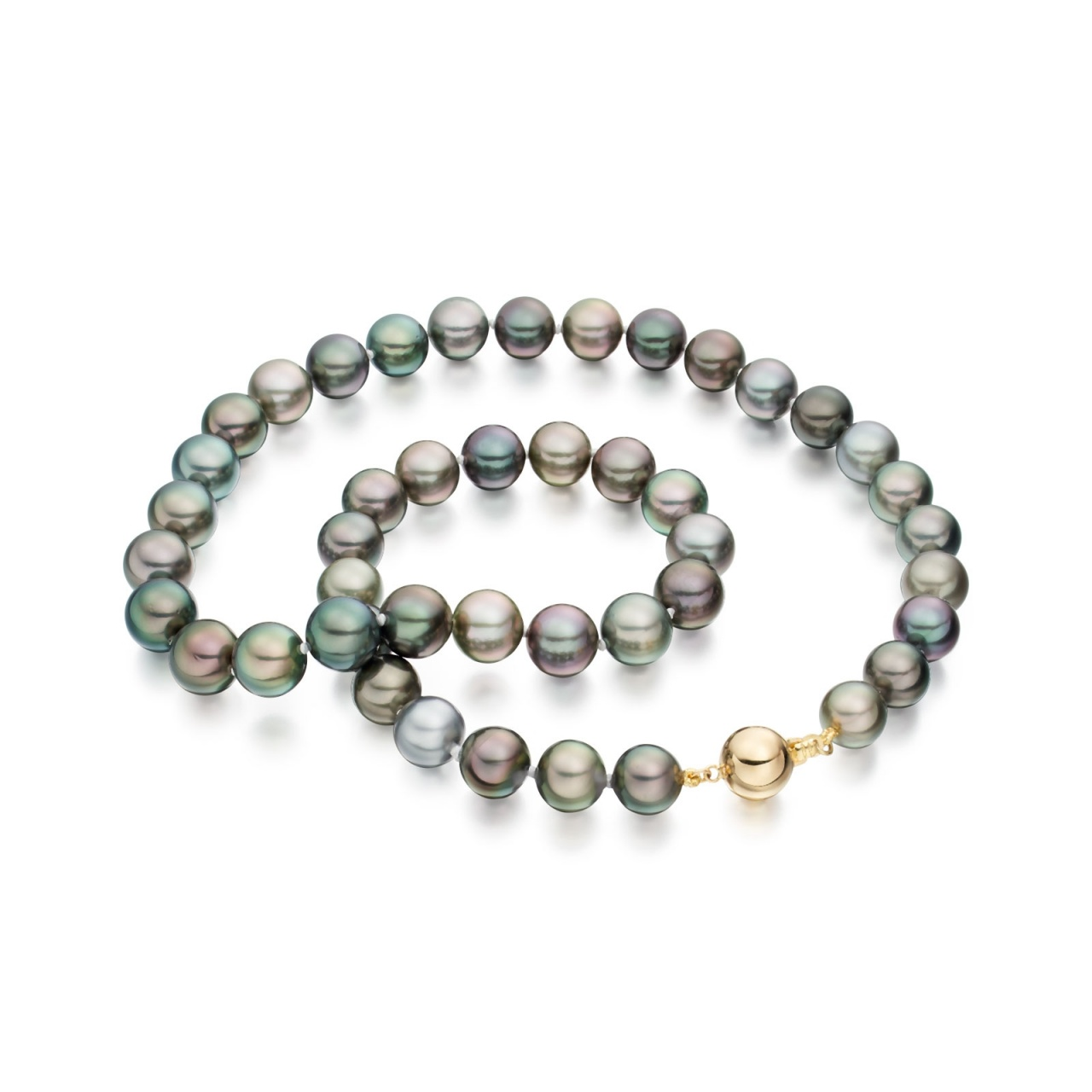 Multi-coloured Tahitian Pearl Necklace with Yellow Gold-TNMRYG1021-1