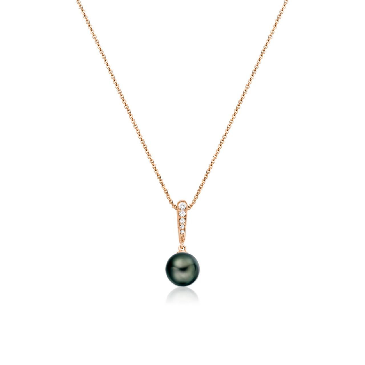 Mythologie Dark Dewdrop Tahitian Pearl Pendant in Rose Gold-TPVARRG1287-1