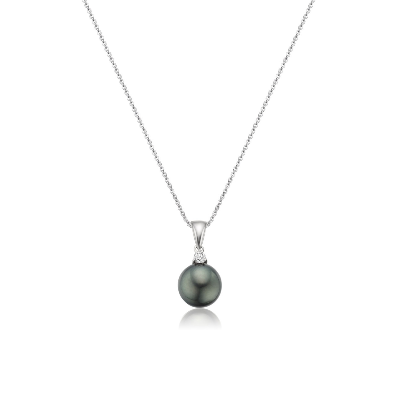 Black Tahitian Pearl and Diamond Pendant with 18ct Gold Chain-TPVAR00550058-1