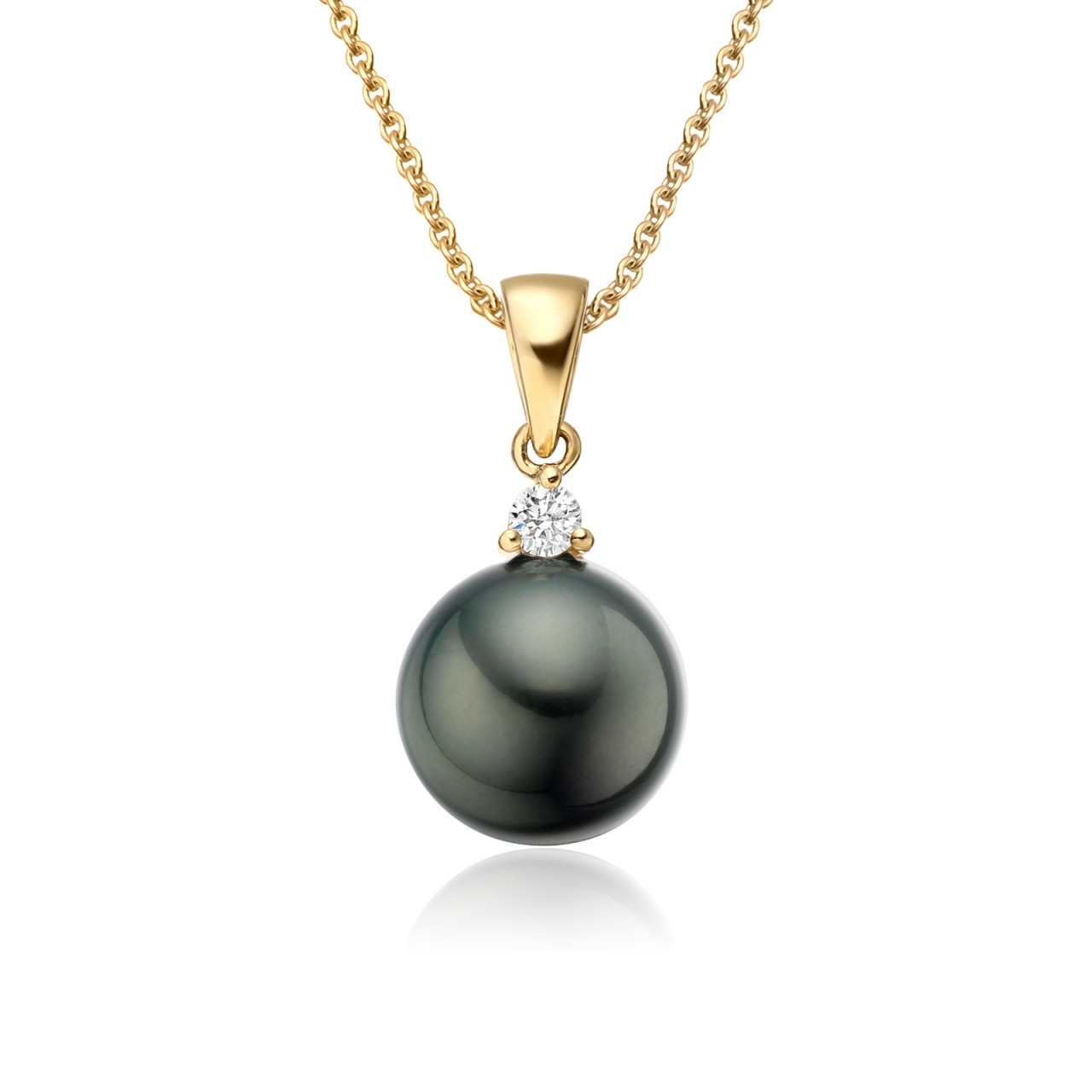 Black Tahitian Pearl and Diamond Pendant in Yellow Gold-TPVARYG1202-1