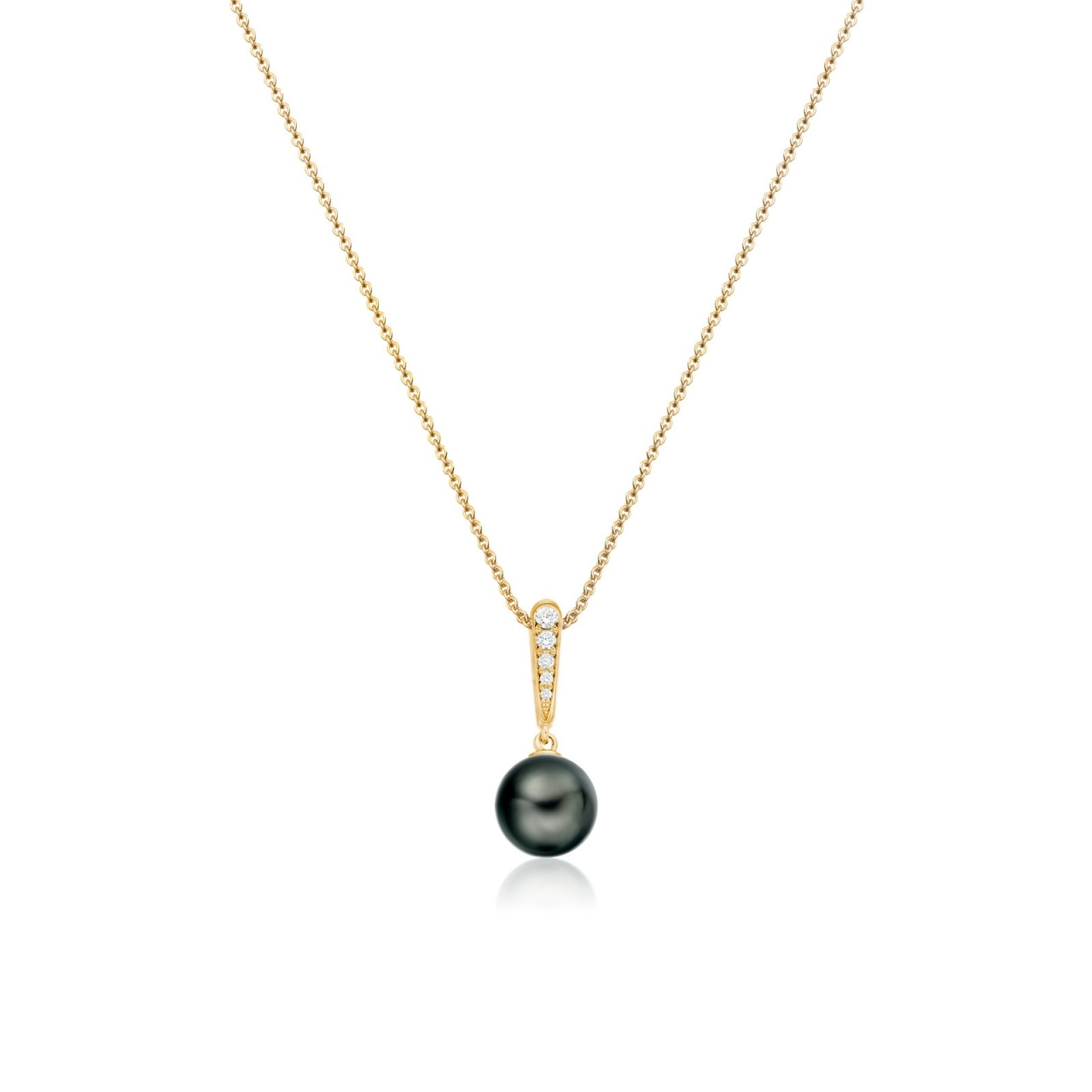 Mythologie Dark Dewdrop Tahitian Pearl Pendant in Yellow Gold-TPVARYG1286-1