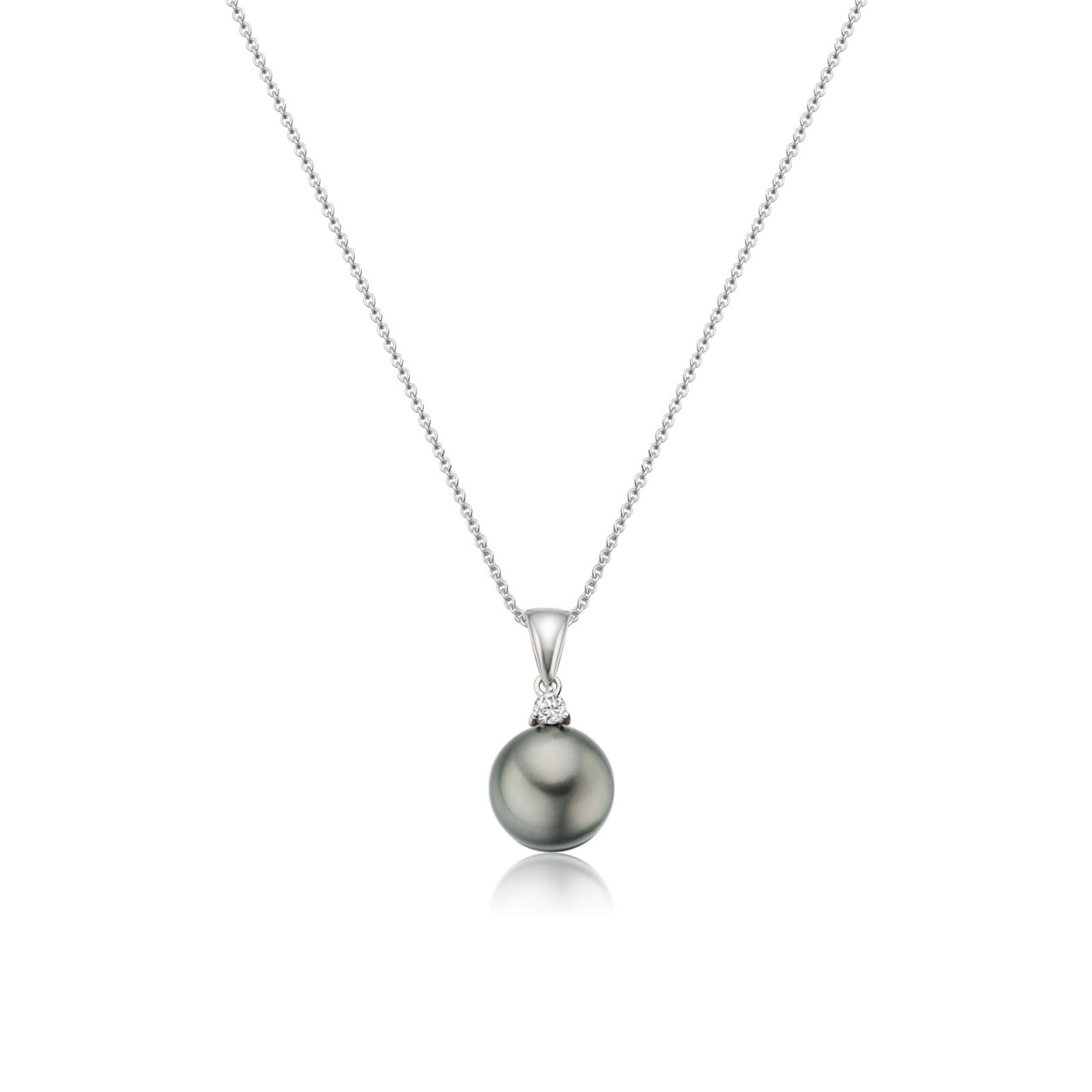 Grey Tahitian Pearl and Diamond Pendant with 18ct Gold Chain-TPVAR00560059-1