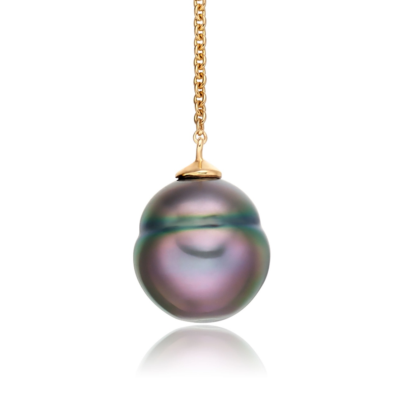 Baroque Tahitian Pearl Lariat in Yellow Gold-1
