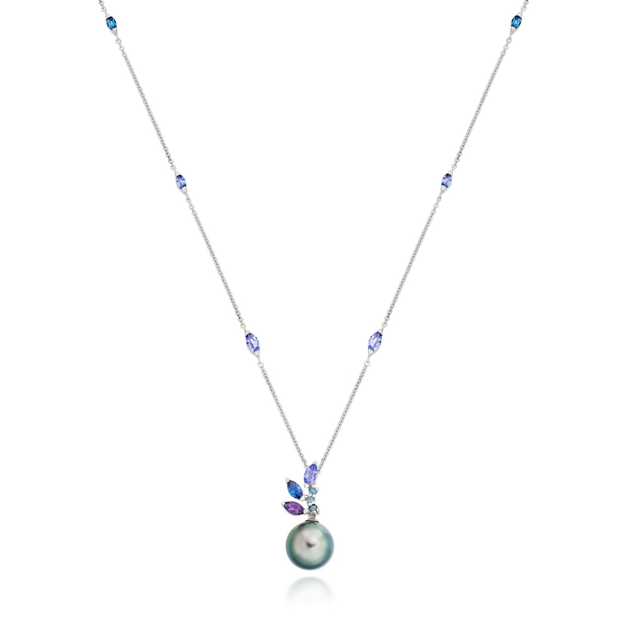 Enchanted Lagoon Pendant in White Gold-TPPRWG0897-1